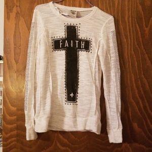 Long sleeve lightweight cross faith blinged out